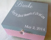 Keepsake Box -  Personalized Memory Box - Large Keepsake Box - Pink and White Polka Dot - Grey - Gift