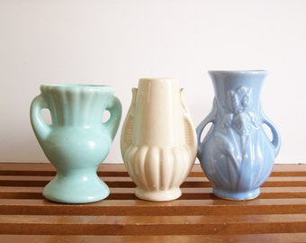 Small Vintage Vase Collection, Set of Three, Instant Collection, Vintage Pottery