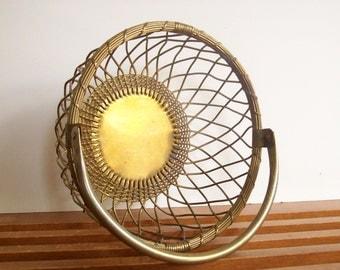 Vintage Brass Basket, Bread Basket, Hollywood Regency, Vintage Storage, Handled Basket, Open Weave Retro Decor