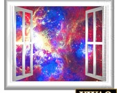 Galaxy Wall Decal Outer Space Graphics Peel and Stick 3D Window Frame Mural GJ93