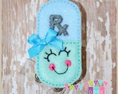Happy Pill Rx - Light Blue & Mint - Felt Badge Reel - Retractable ID Badge Holder - Embroidered Name Tag Pull - Alligator or Slide Clip