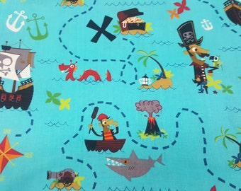 Pirate Story by David Textiles Cotton Fabric by the yard