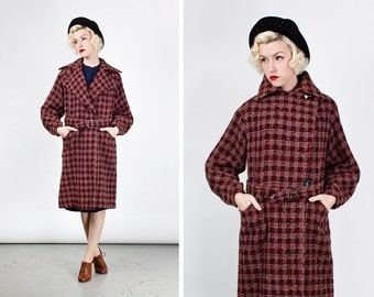 RESERVED Vintage Rare Early 1930s Deco Red Plaid Coat