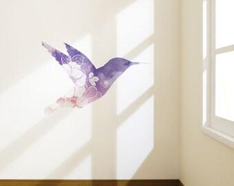 Watercolor Flowery Bird | Removable Wall Sticker | LSB0252CLR-S