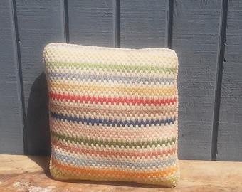 SALE! - Vintage Pillow 12 x 12 - Chevron Pillow - Corduroy Pillow