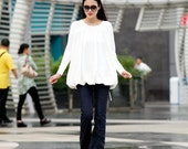 On Sale Size XL Loose Style Cotton Pullover Blouse Top in White for Women - NCA008-2