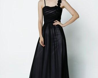 On Sale Size XXS Black Wedding dress/Silk Chiffon party dress - NC640-1