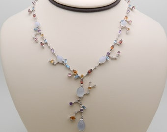 "Chalcedony Aquamarine Diamond Citrine Amethyst Tourmaline Lariat Necklace 16"" White Gold"