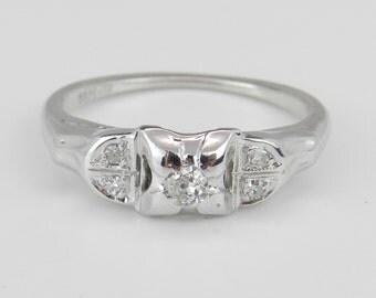 Antique Ring Vintage Ring Diamond Engagement Ring  14K White Gold Genuine Natural Size 4.75