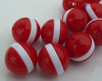 20mm 10CT Chunky Red Striped Beads, Chunky Striped Bubblegum beads, Chunky Beads, C35