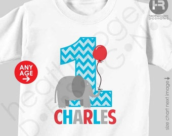 Elephant 1st Birthday Shirt or Bodysuit - Personalized Elephant First Birthday Shirt or Bodysuit - Zoo Birthday Shirt