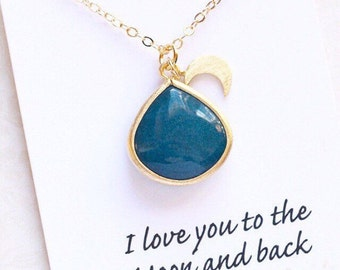 I Love You to the Moon Charm Necklace Gift Jewelry Gift Jewelry Necklace Moon Gift Party Gift Limonbijoux