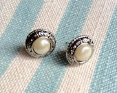 Handmade Vintage Button Earrings. Pearl & Antiqued Silver Plated. 10mm Diameter.