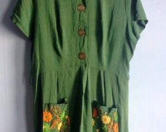 Vintage Dress 60s Flower Pockets