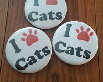 I love cats 1 inch pinback button set