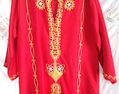 Exotic ~ Floor length Dress ~ Sexy Front Slit ~ Asian Lounge-wear ~ Chinese ~ Embroidered Bullion ~ Vintage RED ~ Boho Chic