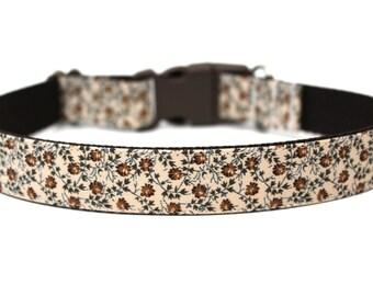 "Fall Dog Collar 1"" Brown Dog Collar SIZE SMALL"