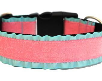 """Glitter Dog Collar 1.5"""" Ruffle Dog Collar"""