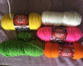 Yarn RedHerat Super Saver in Bright Yellow, Pretty N Pink, Pumkin, White, Green