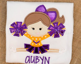 Purple and Gold Cheerleader Applique Shirt or Bodysuit LSU Inspired