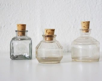 Antique Ink Bottle Collection, Clear, Set of 3