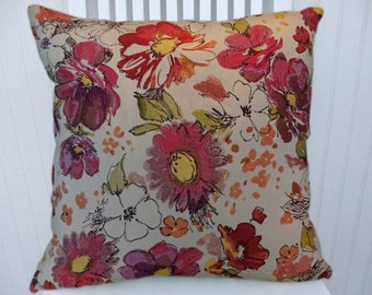 Pink Orange  Floral Decorative Throw Pillow Cover- 18x18 or 20x20 or 22x22- Pillow Cover- Accent Pillow Cover
