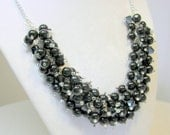 Black Pearl and Crystal Necklace, Black Tie Event Jewelry, Chunky Wedding Necklace, Black Pearl Bridesmaid Necklace, Gothic Necklace