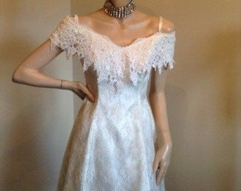 80s Off Shoulder Lace Dress