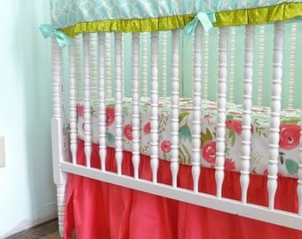 Custom Crib Bedding in Aqua and Coral with Modern Floral Sheet