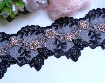 2 inch wide black mesh embroidery lace trim selling by the yard