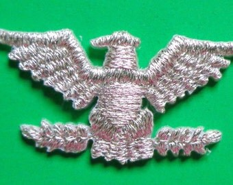 Iron On Patch Applique - Eagle Metallic Silver