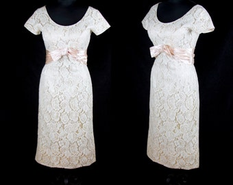 1950s Dress // Ivory Lace Wiggle Dress with Pink Satin Bow and Lining by Norman Original
