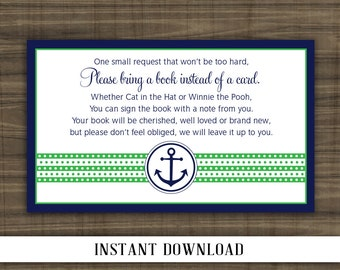 INSTANT DOWNLOAD - Nautical Bring a Book Insert - Navy and Green - Print Your Own - Digital File