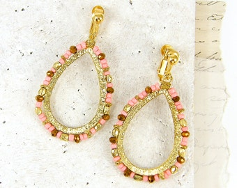 Coral Clip on Earrings - Bronze Gold Bead Teardrop Beaded Dangle Screw Back Earrings