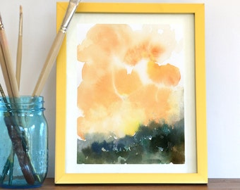 Watercolor Print, Abstract Art Print, Sky, Clouds, sunset, Landscape Painting, Modern Art, Expressionist, Minimalist, Bohemian