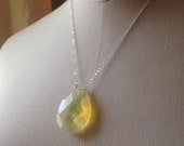 Pineapple quartz crystal necklace sterling silver chain Monster in Law Jennifer Lopez necklace Ready to Ship!