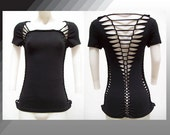 SALE!!!  LARGE - Juniors / Womens Shredded Sexy Cut up Black Top!!!  Great for club wear, yoga wear or anytime wear