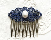 Blue Wedding Comb Navy Blue Bridal Comb Pearl Hair Comb Dark Blue Cobalt Blue Hair Accessories Bridesmaid Hair Slide Gift