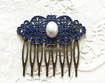 Blue Wedding Comb Navy Blue Bridal Comb Pearl Hair Comb Dark Blue Cobalt Blue Hair Accessories Bridesmaid Hair Slide Gift