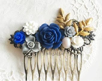 Sapphire Blue Wedding Comb Navy Blue Gold Bridal Hair Accessories Woodland Branch Leaf Floral Headpiece Bridesmaid Hair Slide Romantic JW WR
