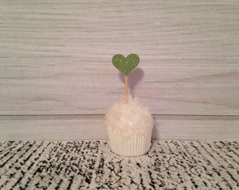 Green Glitter Heart Cupcake Toppers Wedding Cupcake Toppers Valentines Day Birthday Appetizer Horderves Food Picks