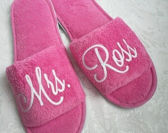 Wedding Day Slippers for new MRS - Honeymoon slippers, New Bride gift - Marriage gift - New Mom - Best Friend - Daughter - Sister - Get Well