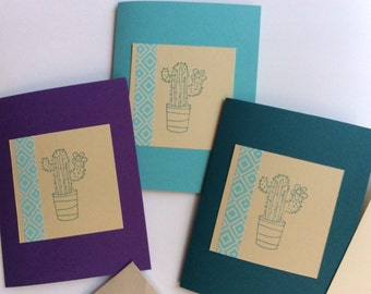 Cactus Handmade Card, Succulent Card, Jewel Toned Card, All Occasion Card, Blank Handmade Card, Card Set 3 pc