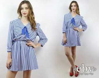 Vintage 80s Striped Secretary Mini Dress M L Ascot Dress 80s Dress Striped Dress Day Dress Secretary Dress 1980s Dress 80s Mini Dress