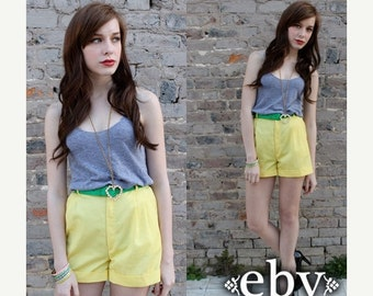 Yellow Shorts High Waisted Shorts High Waist Shorts Vintage 70s Yellow High Waisted Cuffed Pleated Shorts XXS XS S