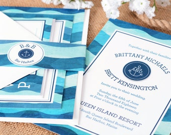 Wedding Invitations - DEPOSIT TO START Aquatic Suite - Custom Wedding Invites - Personalized Wedding Invitations - Full Wedding Suites