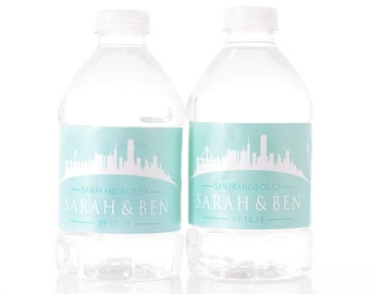 San Francisco Wedding - Wedding Water Bottle Labels - San Francisco Skyline Wedding Stickers - Wedding Water Bottle Stickers
