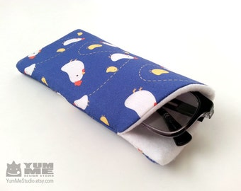 Cute Chickens Glasses Eye wear Case (Made to Order)