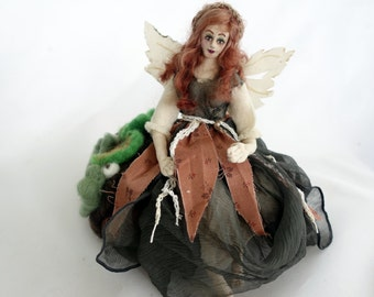 Fairy art cloth doll needle felted forest sculpture unique gift poseable Caretaker
