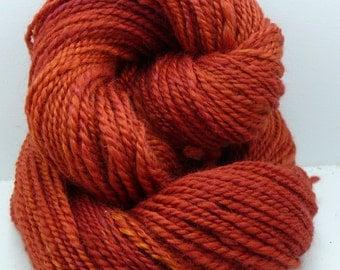 Our huacaya alpaca Durga  handpainted in a rusty orange!  100% Alpaca!
